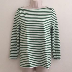 COS Green + White Striped Boatneck T-Shirt